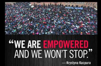 Image from the Black Protest with a quote by Krystyna Kacpura